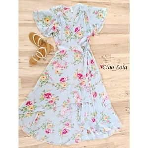 New arrival. Blue floral high low dress
